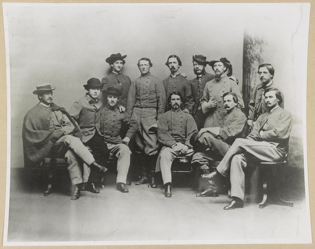 [Group portrait showing Col. John Singleton Mosby and some members of his Confederate battalion]