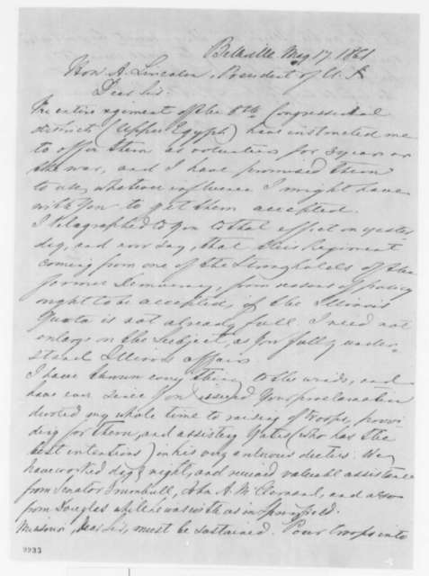 Gustave P. Koerner to Abraham Lincoln, Friday, May 17, 1861  (Recommends acceptance of Illinois regiment into service)