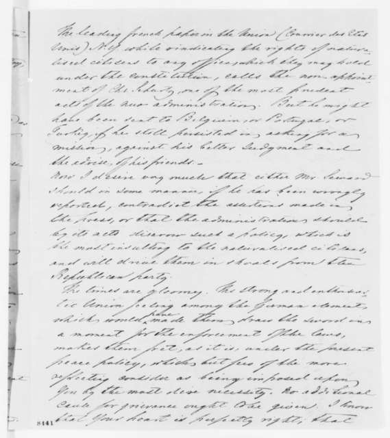 Gustave P. Koerner to Abraham Lincoln, Thursday, March 28, 1861  (Appointment of foreign born to diplomatic posts)
