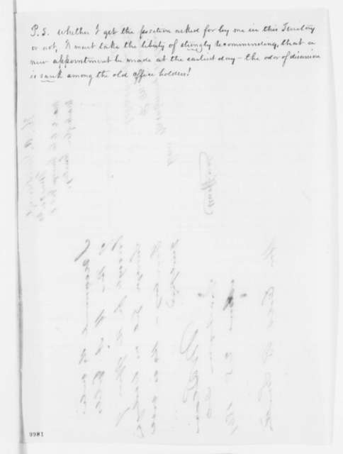 H. A. Goldsborough to Montgomery Blair, Monday, May 20, 1861  (Seeks office; with endorsement from Blair to Caleb Smith, June 25, 1861)