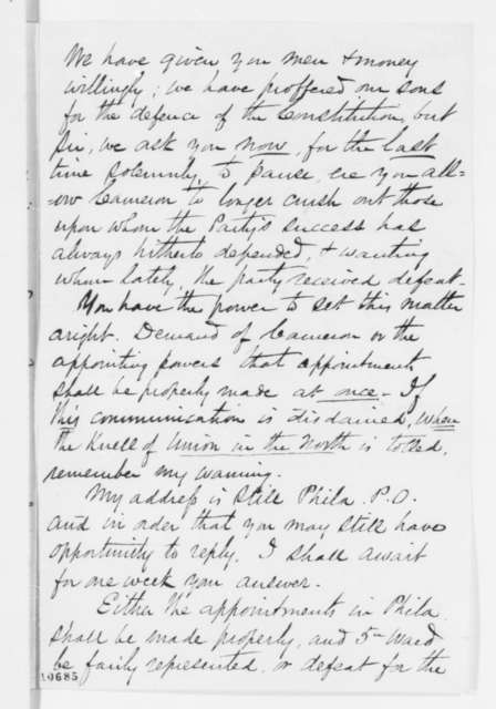 H. L. Bartram to Abraham Lincoln, Saturday, July 06, 1861  (Criticizes Pennsylvania appointments)