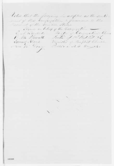 Hamilton Illinois Ministers to Abraham Lincoln, Tuesday, October 01, 1861  (Support Fremont)