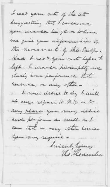 Hannibal Hamlin to Abraham Lincoln, Saturday, May 11, 1861  (Trip to New York)