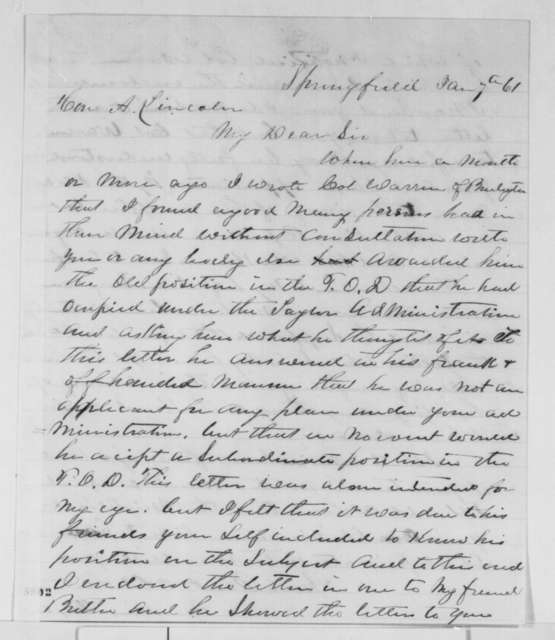 Hawkins Taylor to Abraham Lincoln, Monday, January 07, 1861  (Fitz Henry Warren)