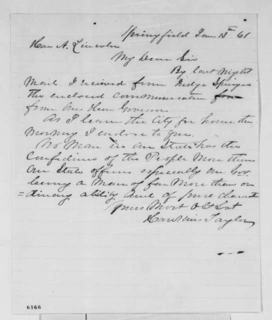 Hawkins Taylor to Abraham Lincoln, Sunday, January 13, 1861  (Forwards letter)