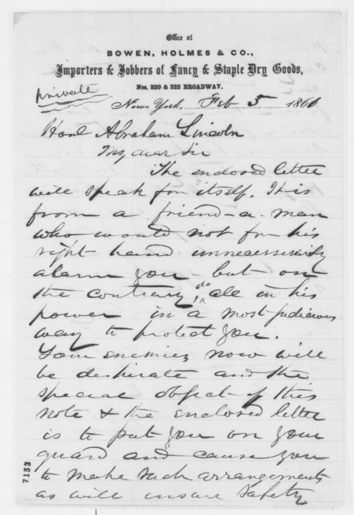 Henry C. Bowen to Abraham Lincoln, Tuesday, February 05, 1861  (Forwards letter concerning Lincoln's safety)
