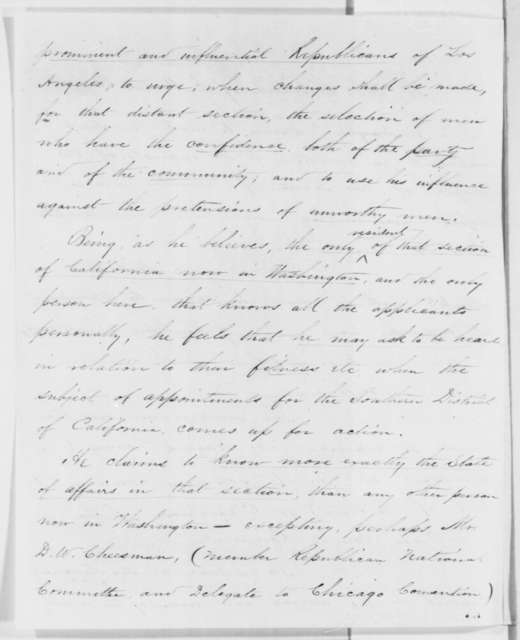 Henry D. Barrows to Abraham Lincoln, Thursday, March 28, 1861  (California appointments)
