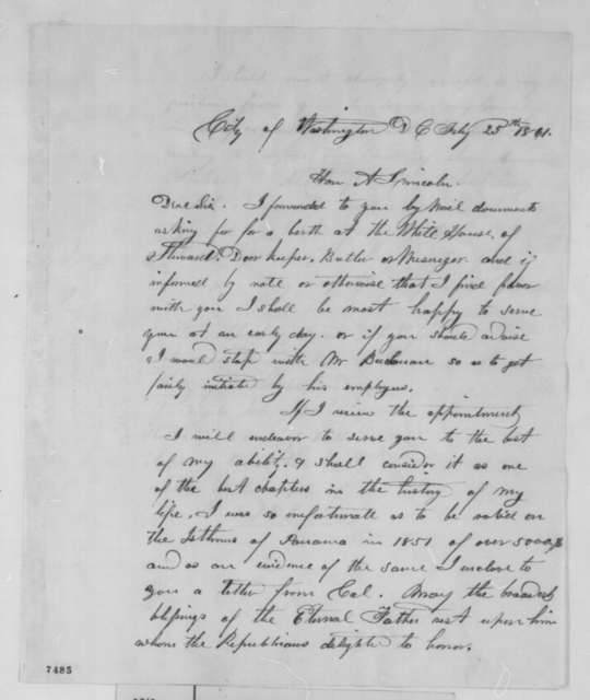Henry F. Johns to Abraham Lincoln, Monday, February 25, 1861  (Seeks position on White House staff)