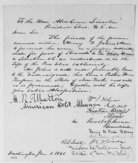 Henry F. Johns to Abraham Lincoln, Tuesday, January 01, 1861  (Petition for employment as White House steward)