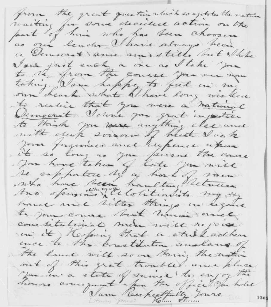 Henry Jones to Abraham Lincoln, Tuesday, September 24, 1861  (Supports Lincoln's position regarding Fremont)