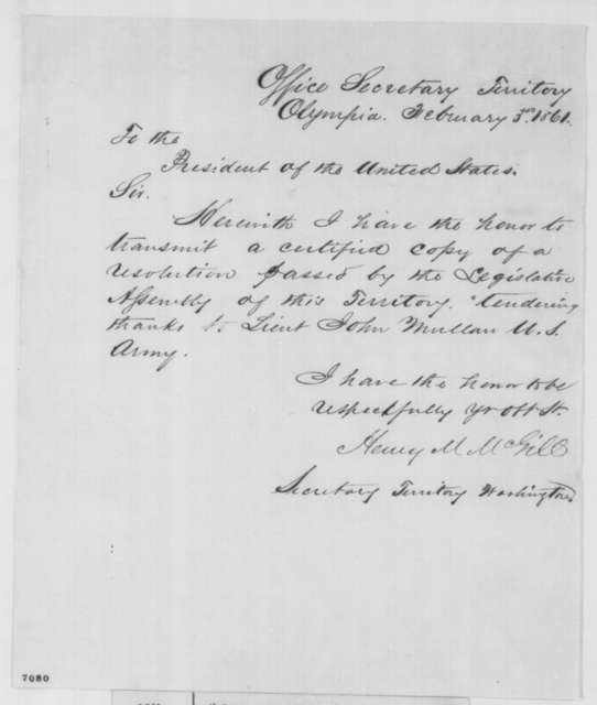 Henry M. McGill to Abraham Lincoln, Sunday, February 03, 1861  (Sends resolution)
