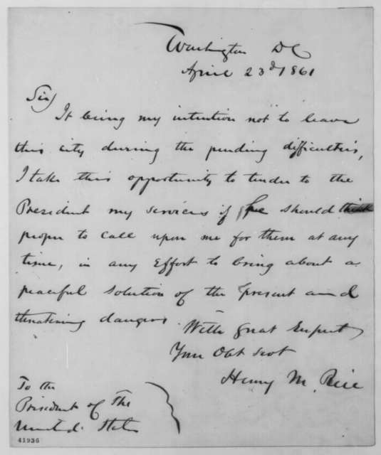 Henry M. Rice to Abraham Lincoln, Tuesday, April 23, 1861  (Tenders his services)