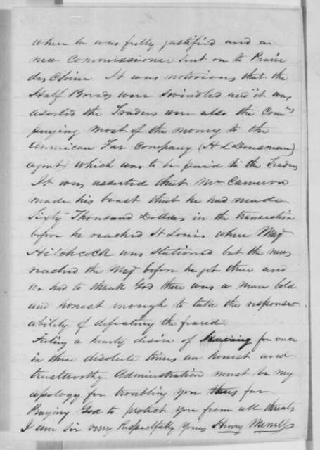 Henry Merrill to Abraham Lincoln, Tuesday, January 01, 1861  (Cameron)