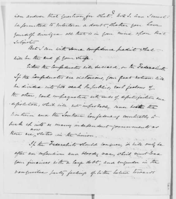 Henry Thompson to Abraham Lincoln, Saturday, August 31, 1861  (Support from England)