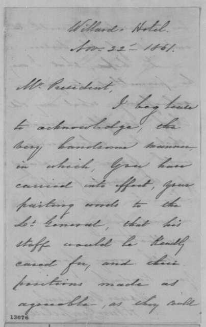Henry Van Rensselaer to Abraham Lincoln, Friday, November 22, 1861  (Acknowledgment)