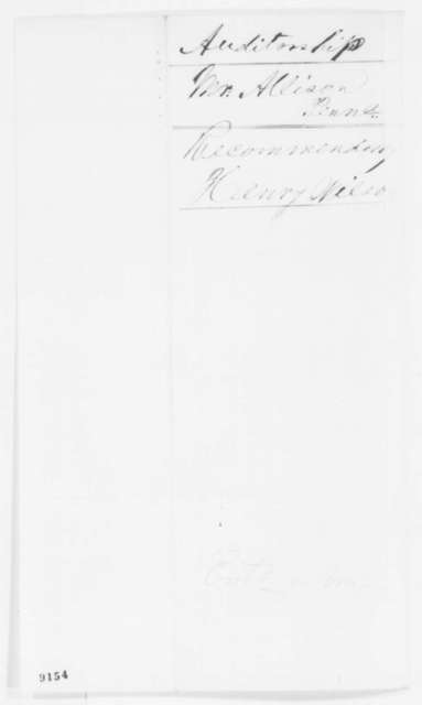 Henry Wilson to Salmon P. Chase, Tuesday, April 16, 1861  (Recommendation)