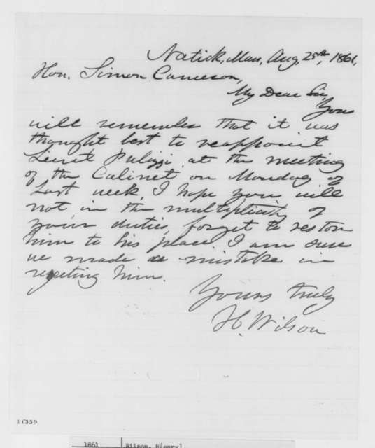 Henry Wilson to Simon Cameron, Sunday, August 25, 1861  (Appointment)