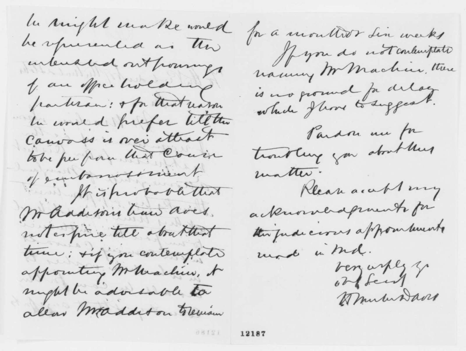 Henry Winter Davis to Abraham Lincoln, Tuesday, October 01, 1861  (Recommendation)