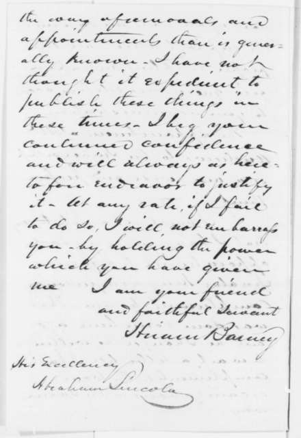Hiram Barney to Abraham Lincoln, Saturday, July 20, 1861  (Patronage)