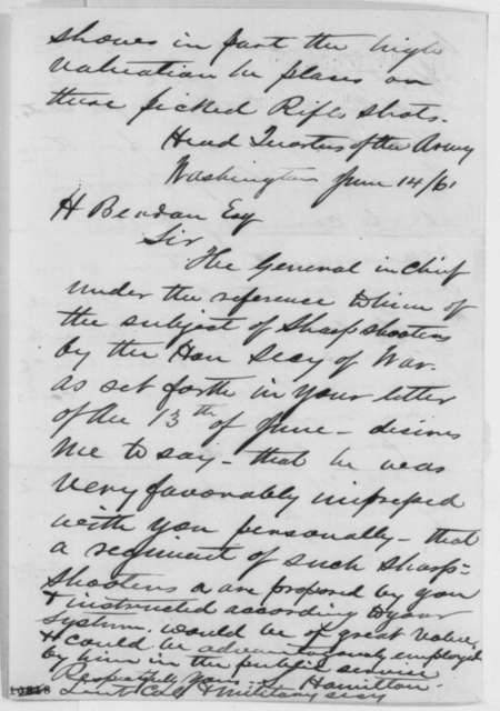 Hiram Berdan to Abraham Lincoln, Sunday, July 21, 1861  (Military affairs)
