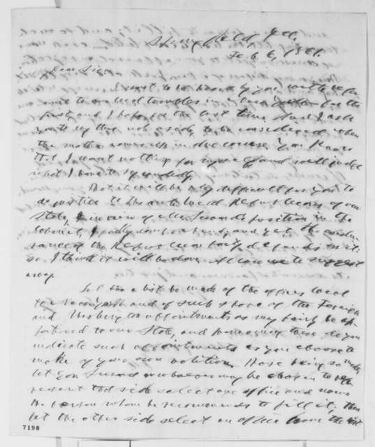 Horace Greeley to Abraham Lincoln, Wednesday, February 06, 1861  (New York patronage)