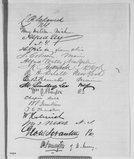 House of Representatives to Abraham Lincoln, Monday, January 14, 1861  (Petition supporting Colfax for cabinet)