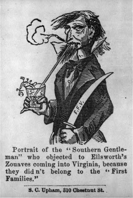 """[Illustrated Civil War """"Union Envelopes""""]: [Caricature of """"Southern Gentleman""""]"""