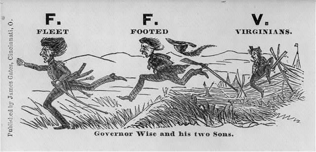 """[Illustrated Civil War """"Union Envelopes""""]: F.F.V. (fleet-footed Virginians) Gov. Wise & Sons"""