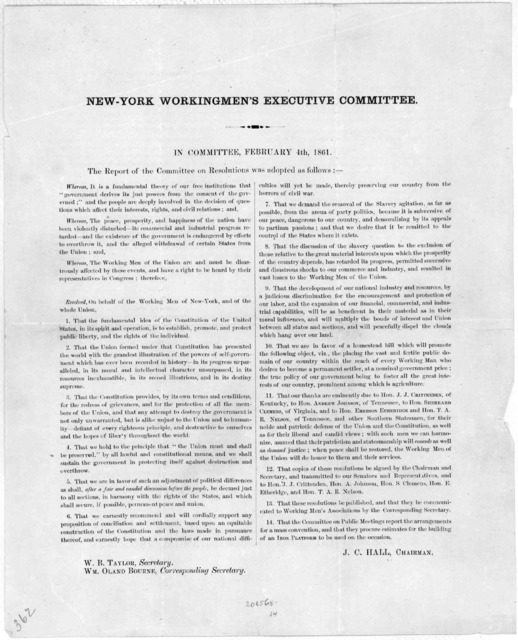 In Committee, February 4th, 1861. The report of the committee on resolutions was adopted as follows: ... J. C. Hall, Chairman. [New York, 1861].