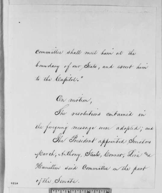 Indiana Legislature to Abraham Lincoln, Tuesday, January 15, 1861  (Resolution inviting Lincoln to visit legislature on his way to Washington)