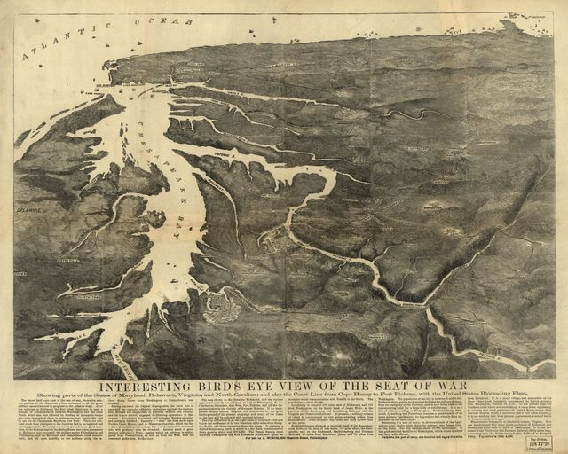 Interesting bird's eye view of the seat of war. Showing parts of the states of Maryland, Delaware, Virginia, and North Carolina; and also the coast line from Cape Henry to Fort Pickens, with the United States blockading fleet.