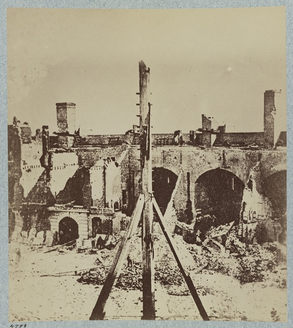 Interior of Fort Sumter in April 1861 after its surrender by U.S. garrison