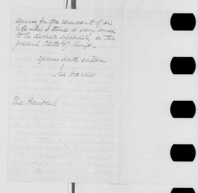 Ira Harris to Abraham Lincoln, Friday, November 01, 1861  (Resignation of Gen. Wool)