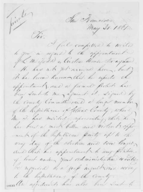 Ira P. Rankin to Abraham Lincoln, Friday, May 31, 1861  (Appointment of Lockwood Todd)