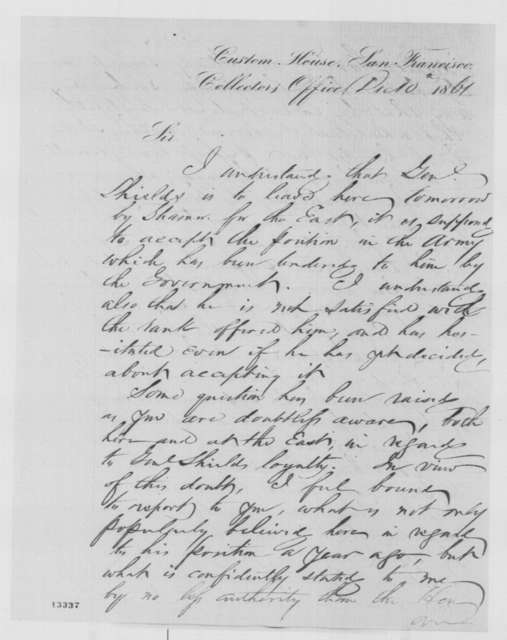 Ira P. Rankin to Simon Cameron, Tuesday, December 10, 1861  (Loyalty of Gen. Shields)