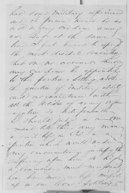 Ira P. Rankin to Simon Cameron, Tuesday, December 10, 1861  (Recommendation)