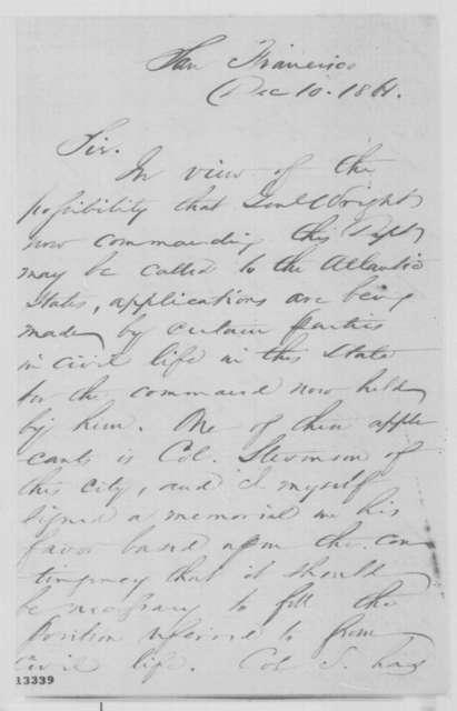 Ira P. Rankin to Simon Cameron, Tuesday, December 10, 1861  (Recommendation)