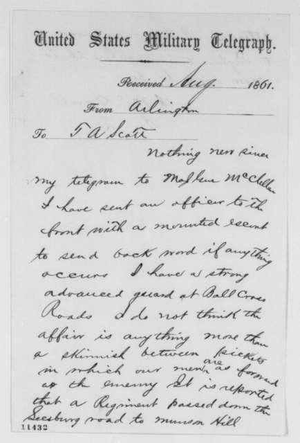 Irvin McDowell to Thomas A. Scott, Tuesday, August 27, 1861  (Telegram regarding military affairs)