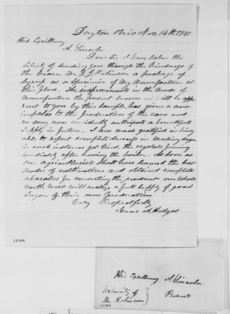 Isaac A. Hedges to Abraham Lincoln, Thursday, November 14, 1861  (Sends syrup)