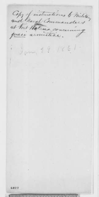 Isaac Toucey and Joseph Holt to Fort Pickens Florida Commanders, Tuesday, January 29, 1861  (Special Orders)
