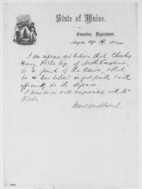 Israel Washburn Jr. to Abraham Lincoln, Friday, April 19, 1861  (Recommendation)