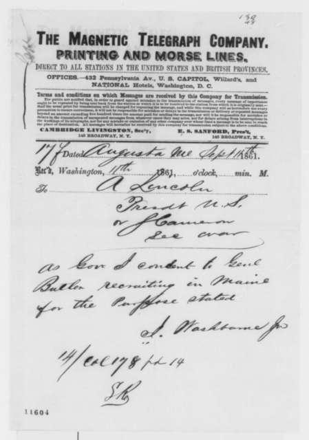Israel Washburn Jr. to Abraham Lincoln, Wednesday, September 11, 1861  (Telegram regarding military affairs)
