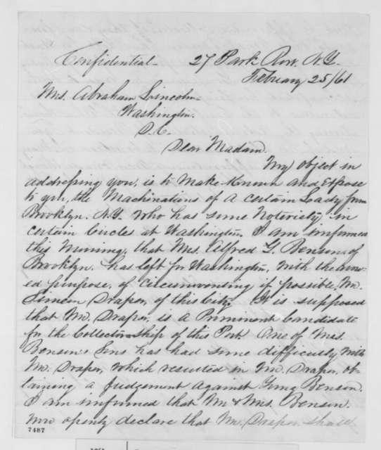 Iverson W. Knapp to Mary Todd Lincoln, Monday, February 25, 1861  (Simeon Draper)