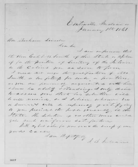 J. B. Julian to Abraham Lincoln, Tuesday, January 01, 1861  (Recommendation for Caleb Smith)