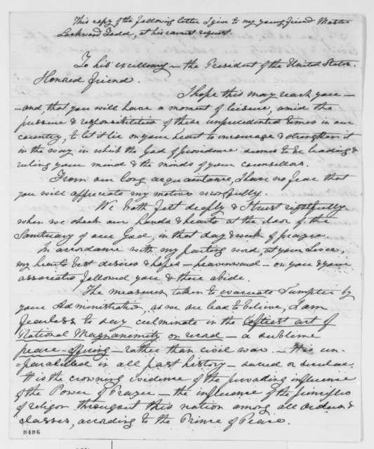 J. G. Bergen to Abraham Lincoln, Saturday, March 30, 1861  (Support from Springfield; Fort Sumter)