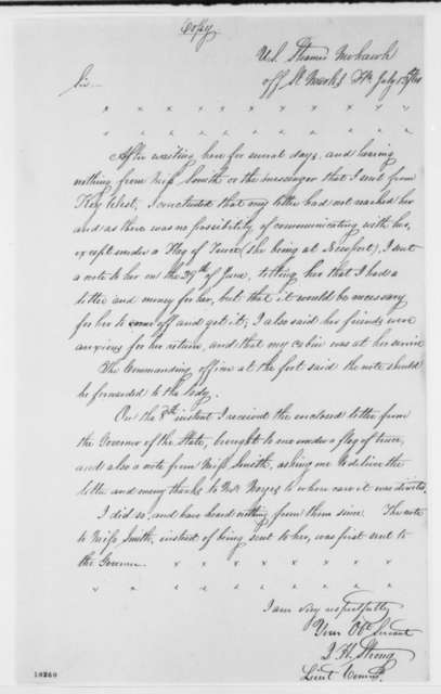 J. H. Strong to William Mervine, Friday, July 12, 1861  (Extract on removal of Elizabeth Smith from St. Marks, FL)