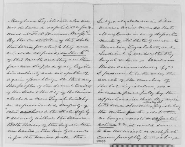 J. M. Coale to Abraham Lincoln, Tuesday, November 12, 1861  (Requests release of imprisoned members of the Maryland legislature)