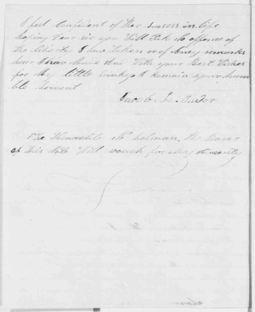 Jacob L. Tudor to Abraham Lincoln, Sunday, June 23, 1861  (Named son after Lincoln)