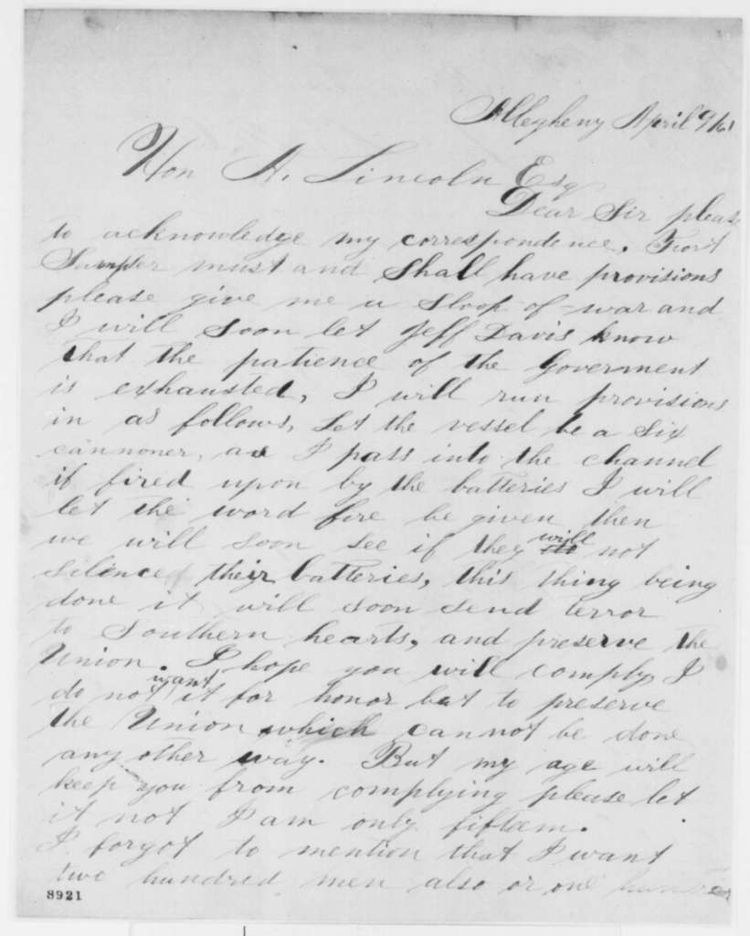 James A. McCaffrey to Abraham Lincoln, Tuesday, April 09, 1861  (Volunteers to provision Fort Sumter)