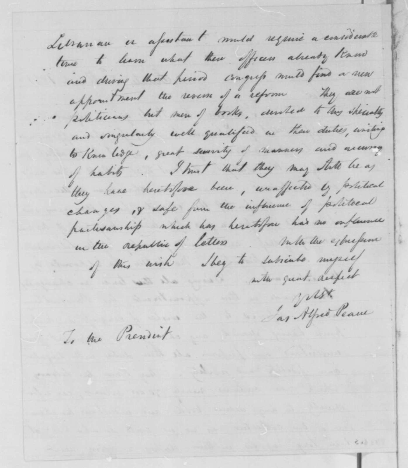 James A. Pearce to Abraham Lincoln, Friday, March 08, 1861  (Library of Congress appointments; endorsed by William P. Fessenden)